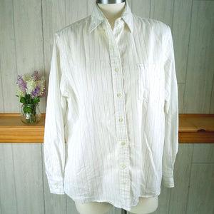 Vintage 80s Women's XL 1X Striped White Button Up